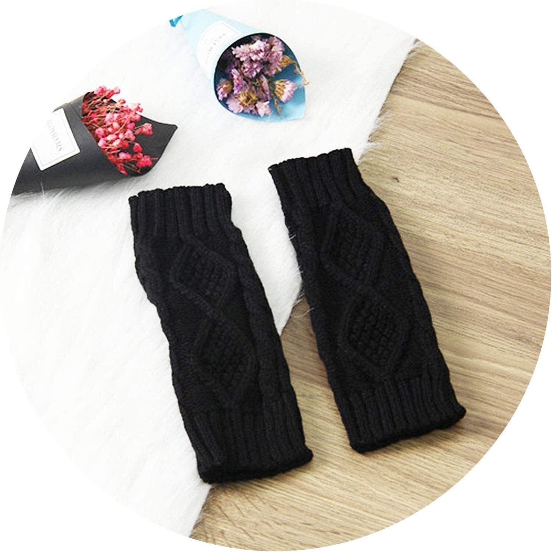 Samantha Warm Gloves Women Fingerless Gloves Winter Gloves Arm Crochet Knitting Faux Wool Mitten Gloves (Color : Black, Size : Oneszie)