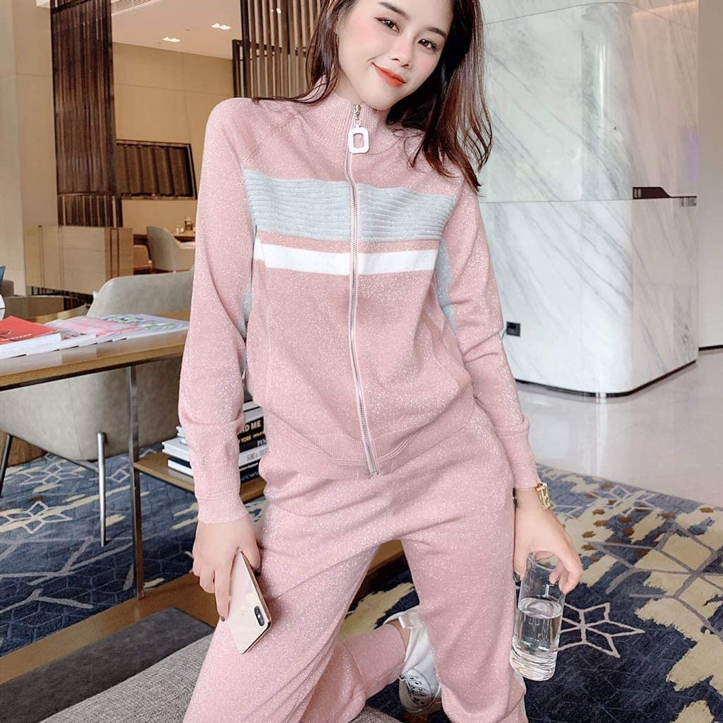 SGZYJ Spring New Casual Knit Zipper Cardigans and Trouser Two Piece Set Women Blue/Pink/Gray Long Sleeve Knit Coat Suit (Color : B, Size : Small)