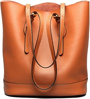 Women's Handbag Genuine Leather Tote Shoulder Bucket Bags Elegant Style Large Capacity