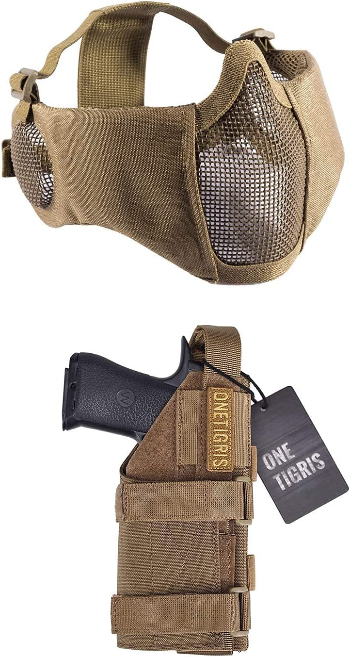 OneTigris Tan Airsoft Mesh Mask with Brown Special Campaign Cover Coyote Excellent Ear Pi