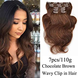 "SHOWJARLLY #4 Chocolate Brown Wavy Clip in Hair Extensions Human Hair 22"" Body Wave Clip in Real Hair Extensions 7Pcs/110g Thick Full Head Remy Clip in Human Hair Extensions"