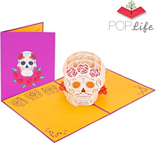 PopLife Dia de los Muertos 3D Pop Up Halloween Day Card - Mexican Sugar Skull Pop Up, Spooky Surprise, Day of the Dead - Folds Flat for Mailing - Grandkids Gift, All Hallows Eve, Kid Card, for Abuela