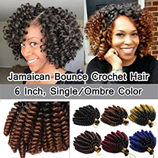 SEGO 6 Inch Jamaican Bounce Crochet Hair Jumpy Wand Curl Short Curly Jamaican Crochet Braids Synthetic Crochet Braiding Hair Extensions Ombre Twist Braid Hair Black to Coffee Brown 3 Bundle