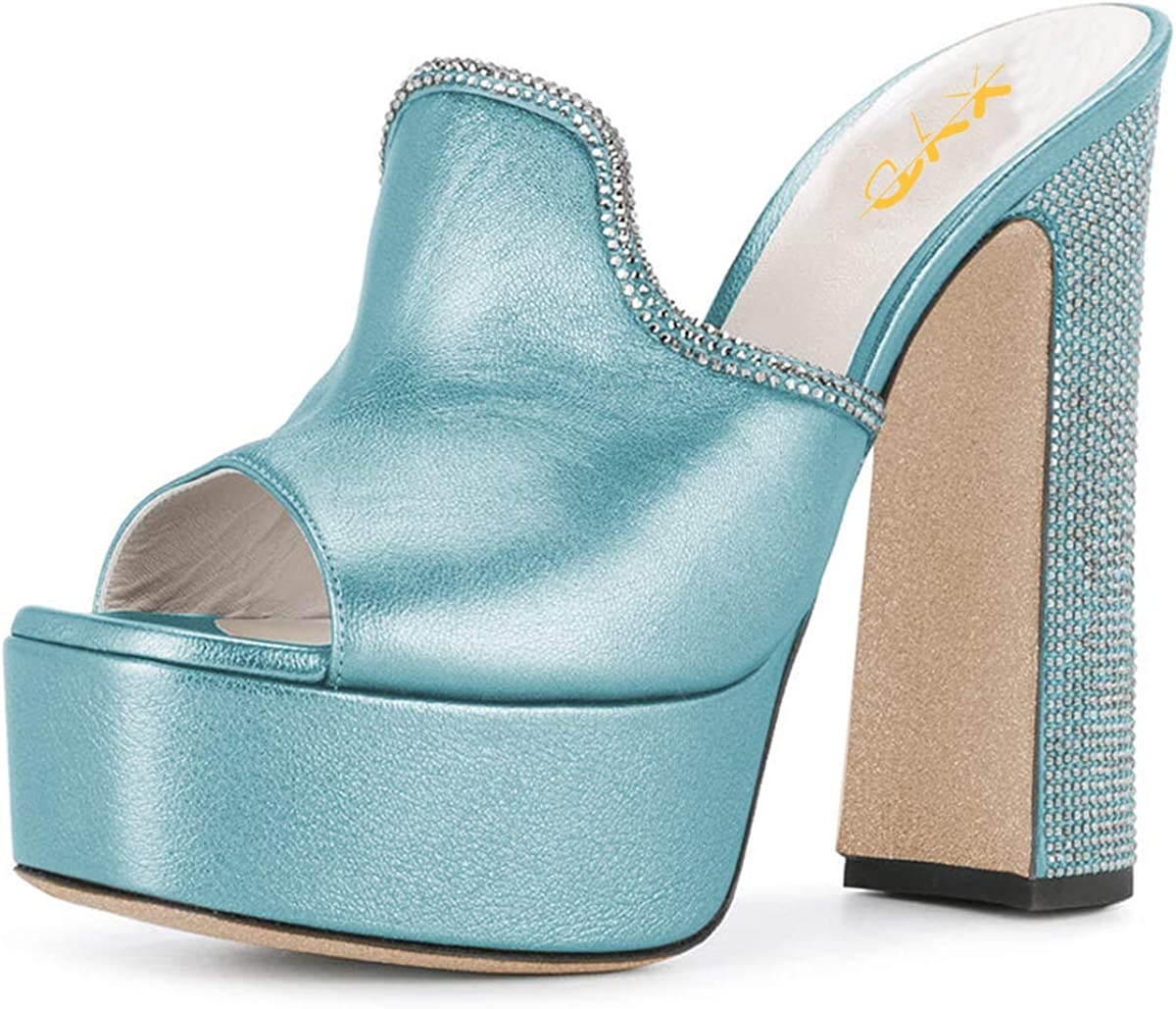 XYD Women Comfortable Peep Toe High Chunky Heel Mules Platform Leather Slide Sandals with Crystal Studs