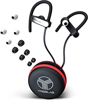 TREBLAB XR800 Bluetooth Headphones, Best Wireless Earbuds For Sports, Running Or Gym Workouts. 2018 Best Model. IPX7 Waterproof, Sweatproof, Secure-Fit. Noise-Cancelling Earphones w/ Mic (White)