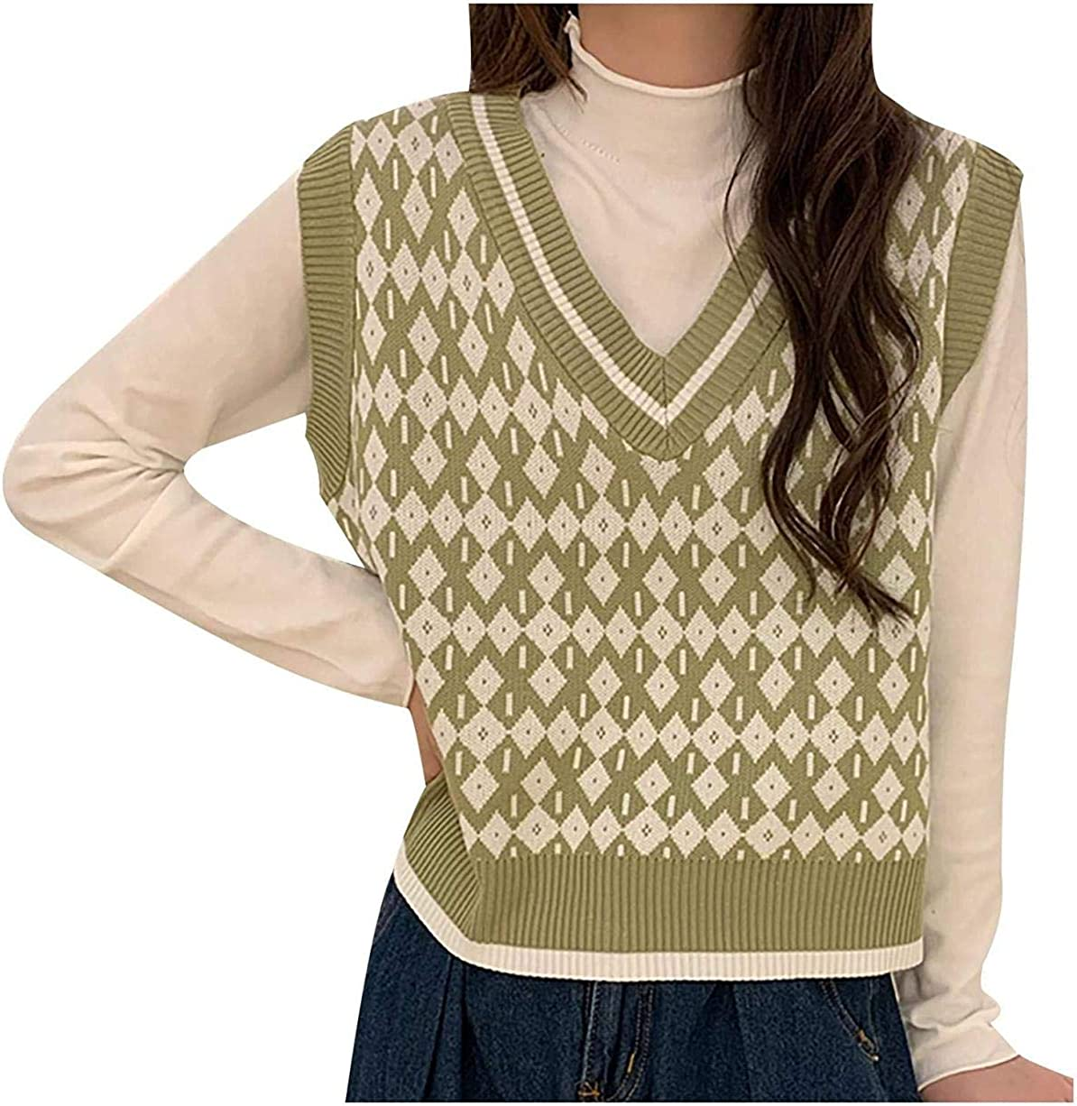 Women Classic Argyle Plaid Sweater Vest, England Style Sleeveless V Neck Preppy Style Knitted Crop Tank Top
