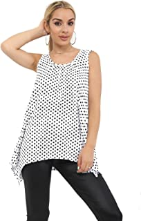 Momo&Ayat Fashions Ladies Printed Floral Hanky Hem Sleeveless Scoop Neck Vest Top UK Size 8-26