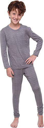 TERODACO Thermal Underwear for Boys Fleece Lined Thermals Kids Base Layer Long John Set