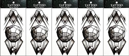 PP TATTOO 5 Sheets Temporary Tattoo Body Art Vintage Stickers for Man Women 3D Black Pyramid Crystal Ball Cartoon Patterns Waterproof Tattoos Sticker Body Art Fake Tattoo