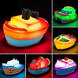 اسباب بازی حمام ، 6 بسته چراغ شناور قایق روشن ، چراغ تغییر دهنده چشمک زن در آب ، هدیه وان برای کودک نوپا کودک کودک ، اسباب بازی کشتی وان برای حمام بازی حمام مهمانی در استخر