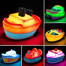 Bath Toys, 6 Packs Light up Boat Floating Rubber Set, Flashing Color Changing Light in Water, Tub Gift for Baby Infant Tod...