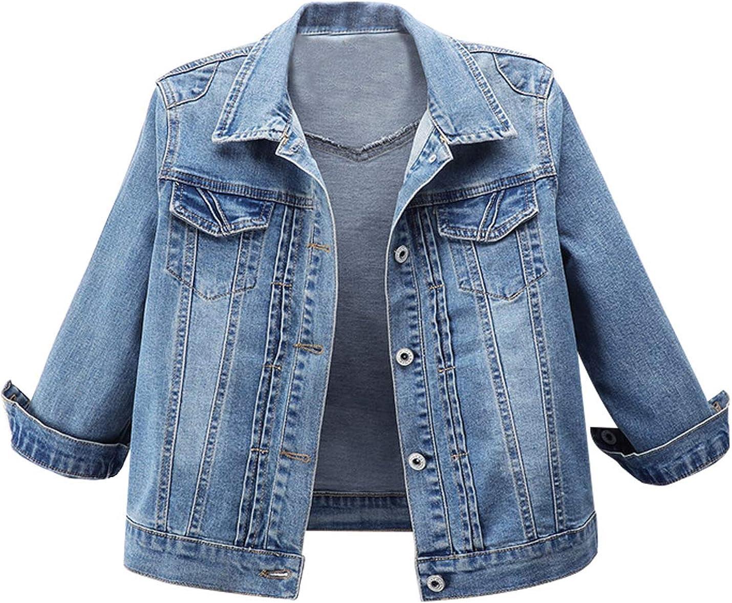 AMEBELLE Women's 3/4 Sleeve Strech Distress Slim Crop Denim Jean Trucker Jacket