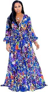 57d715e5e9e7 Nuofengkudu Womens Stylish Chiffon V-Neck Printed Floral Maxi Dress with  Waisted Belt Plus Size
