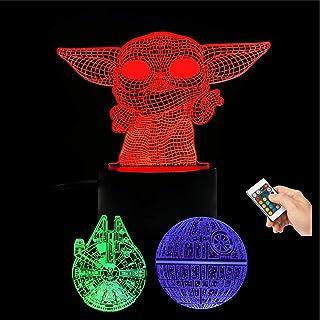 Huanchenda Star Wars Lámpara Ilusión 3D, 3 Patrones 16 Colores Cambian Luz Nocturna Lámpara de Noche para Decoración de Dormitorio