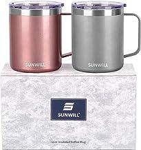 SUNWILL 14 oz Coffee Mug Set, Vacuum Insulated Camping Mug with Lid, Double Wall Stainless Steel Travel Tumbler, Coffee Cu...