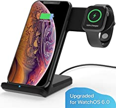 MQOUNY Wireless Charger,2 in1 in 1 Wireless Charger Stand,Charging Station Compatible with iWatch Series 5/4/3/2/1,Fast Wireless Charger Compatible with iPhone 8/X/XR,Samsung S10 All Qi Phones(Black)