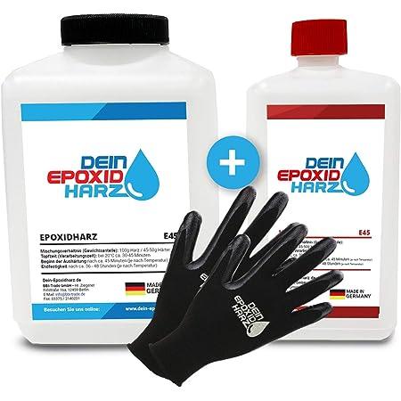 Resine epoxy transparente Ensemble de 2,25 kg | Qualité professionnelle limpide et à faible odeur | Résine coulée pour bois + gants gratuits, y compris les instructions en français