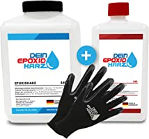 Epoxidharz mit Härter   2,25kg GfK set   Profi Qualität glasklar & geruchsarm   Gießharz für Holz + Schutzhandschuhe