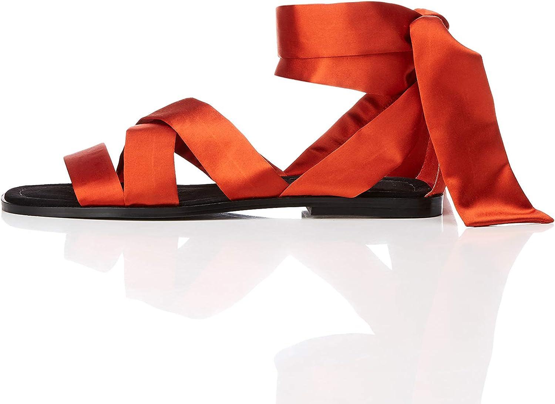 337737f0703ed Amazon Amazon Amazon Brand - find. Women's Satin Tie Up Flat Sandal ...