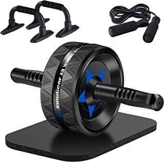 InnoGear 5-in-1 Home Gym Set, Ab Roller Wheel, Adjustable Skipping Ropes, 1 Pairs Push-up Stands, Knee Mat, Abdominal Exercise Equipment Core Strength Trainer for Men Women Fitness