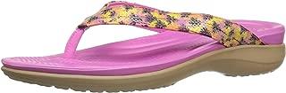 Crocs Women's Capri V Graphic Sequin W Flip Flop, Gold, 5 M US
