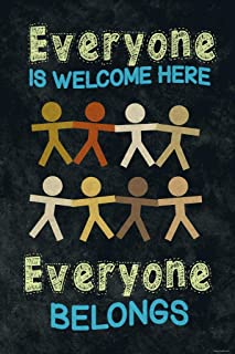 Everyone is Welcome Here Everyone Belongs Classroom Sign Educational Rules Teacher Supplies School Decor Teaching Toddler Kids Elementary Learning Decorations Cubicle Locker Mini Art Poster 8x12