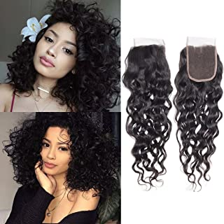 Water Wave Lace Front Closure 4x4 Free Part Brazilian Human Hair Extensions Silky Preplucked Bleached Knots Sew In Weave Curly Virgin Hair Lace Front Closure For Black Women Wet And Wavy 1b(20Closure)
