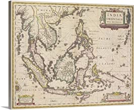 GREATBIGCANVAS Gallery-Wrapped Canvas Antique map of Southeast Asia by 14
