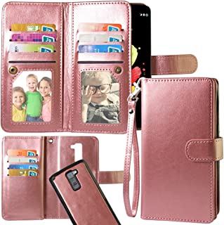 Harryshell LG Stylo 2 Case, Luxury 12 Card Slots Shockproof PU Leather Wallet Flip Protective Case Cover with Wrist Strap for LG Stylo 2 (Rose Gold)