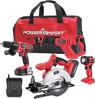 """PowerSmart Combo Kit, 4-Tool Combo Kit, 20V Cordless Drill/Saw Combo Kit, Cordless 1/4"""" Impact..."""
