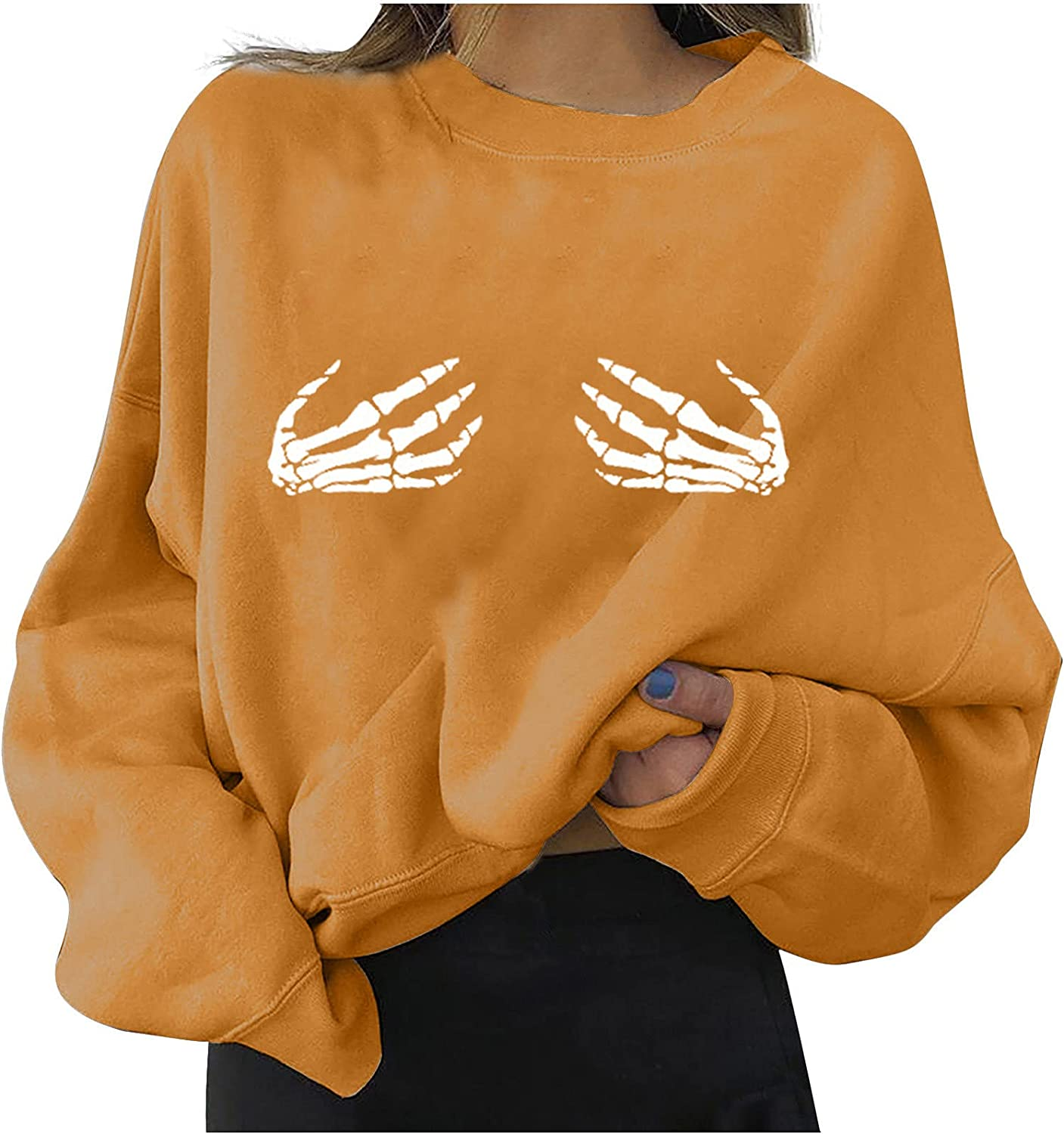 Fashion Pullover for Women's Blouse Tops Casual Long Sleeve Halloween Printed Ladies Tee Shirt Sweatshirts