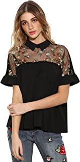 Women's Cute Embroidered Sheer Neck Ruffle Cuff Collared Blouse