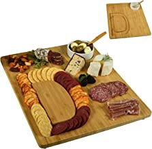 Picnic at Ascot Alphabet Bamboo Cheese/Charcuterie Board with a Groove milled in the shape of a Letter for Crackers - Includes Ceramic Dip/Olive Bowl with bamboo spoon - Patent Pending CB45-D