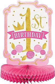 Unique Party- Decoración de Mesa de Papel de Seda Fiesta de Primer Cumpleaños para Niña, Color pink & gold, 35 cm (58158)
