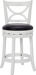 Ball & Cast Jayden Hardwood Counter-Height Swivel Bar Stool with Faux-Leather Upholstery, 24-Inch, Farmhouse White