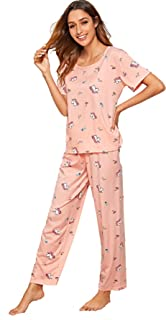 Shein Women's Pajama Set Short Sleeve Shirt and Pants Lounge Sleepwear Nightwear PJ Set
