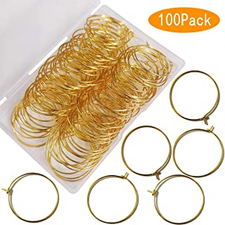 25mm Gold Plated Wine Glass Charm Rings Earring Hoops, for Jewelry Making Craft Art DIY Your Wine Glass Marker Supplies Wedding Birthday Party Festival Favor(Pack of 100)