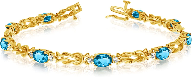 14k Yellow Gold Sale Special Price Natural Blue-Topaz Bracelet And Kansas City Mall Tennis Diamond