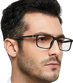 Optical Men's Eyewear Classic Non-prescription Eyeglasses (Brown+Black)