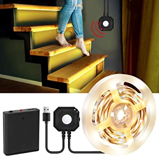 Motion Activated Bed Light, 9.8ft LED Strip Lights Motion Sensor Bedside Lamp Illumination with Automatic Shut Off Timer, ...