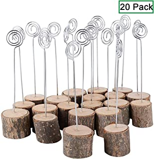 Table Card Holders, Wire Shape Wooden Base Place Card Holders 5.5