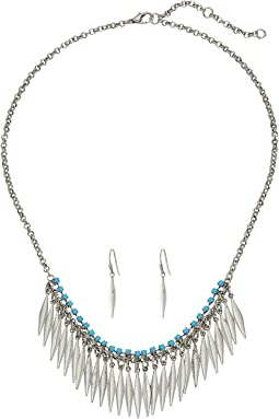 Feather Fringe Necklace/Earrings Set