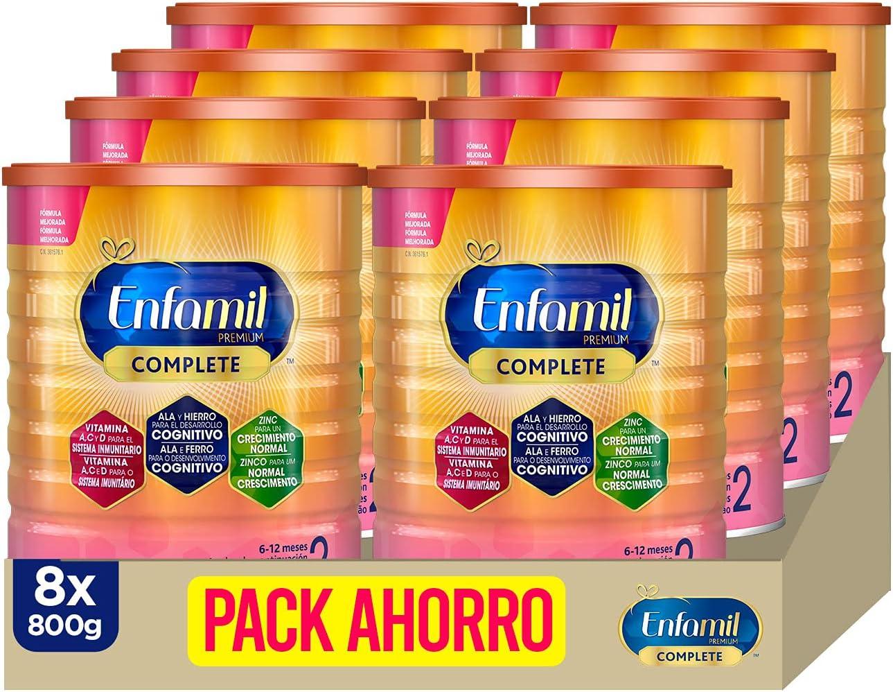 Enfamil Complete 2 - Fórmula leche infantil de continuación para lactantes bebés de 6 a 12 meses - Pack mensual de 8 latas x 800 gr
