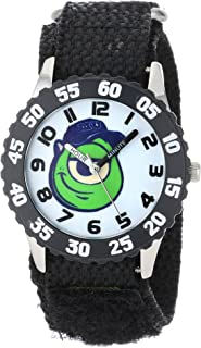 Disney Kids' W000892 Mike Wazowski Stainless Steel Time Teacher Black Bezel Black Nylon Strap Watch