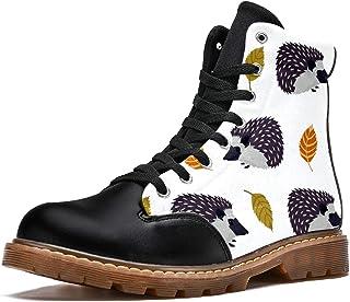 LORVIES Hérisson Blanc Bottes d'hiver Chaussures Montantes en Toile à Lacets pour Hommes