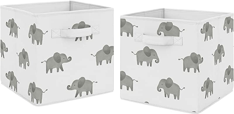 Sweet Jojo Designs Grey And White Watercolor Elephant Safari Organizer Storage Bins For Collection Set Of 2