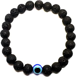 Alwan Black Lava Stone Elastic Bracelet for Men - EE3719E