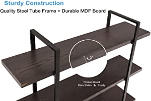 """Homissue 5-Shelf Industrial Bookshelf and Bookcase, Rustic Wood and Metal Bookcases Furniture, 70.0"""" H x 47.3"""" W x 12.7"""" D,Espresso-Brown"""