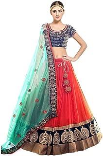 Indian Clothing Store Pramukh Fashion Women's Semi-Stitched Lehenga Choli (Kaya fenta, Multicolour, Free Size)