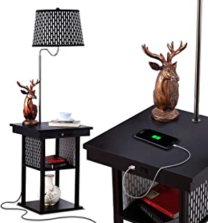 Brightech Madison – Narrow Nightstand with Built in Lamp, USB Port & Shelves..
